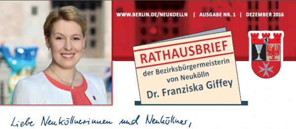 Rathausbrief unserer Bezirksbürgermeisterin Franziska Giffey 1