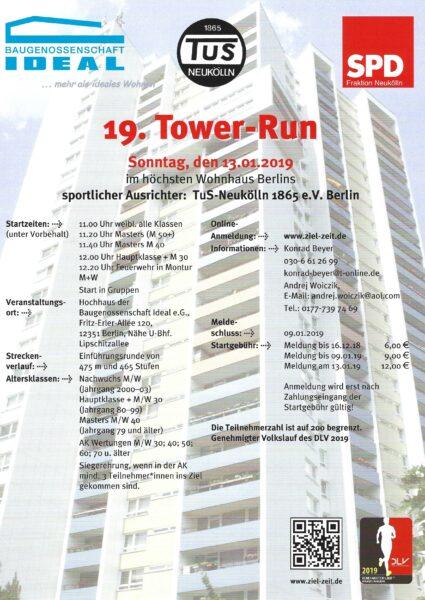 Ankündigung: 19. Tower-Run, 13. Januar 2019 1