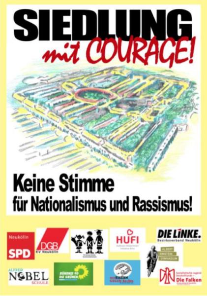Gemeinsame Plakataktion in der Hufeisensiedlung anlässlich der Europawahlen 1