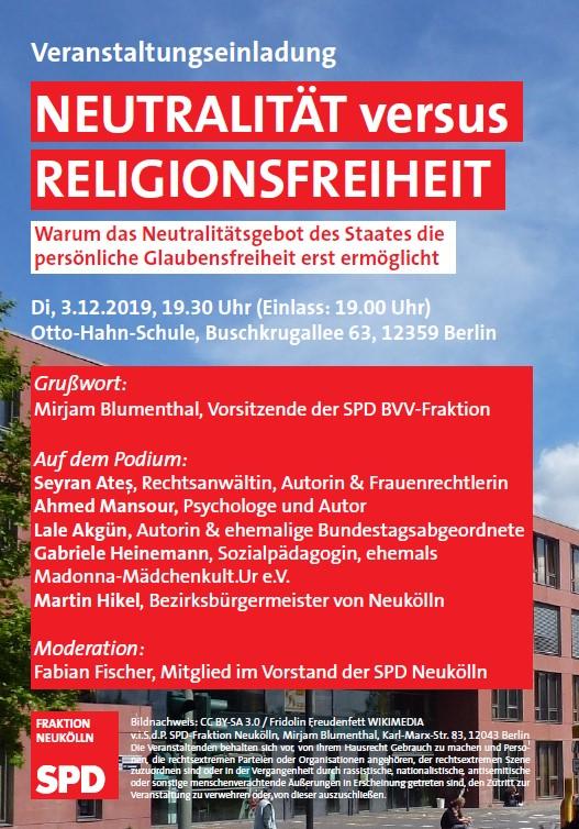 """Terminankündigung: Fraktion vor Ort zum Thema """"Neutralität vs. Religionsfreiheit"""" am 03.12.2019 um 19.30 Uhr 1"""