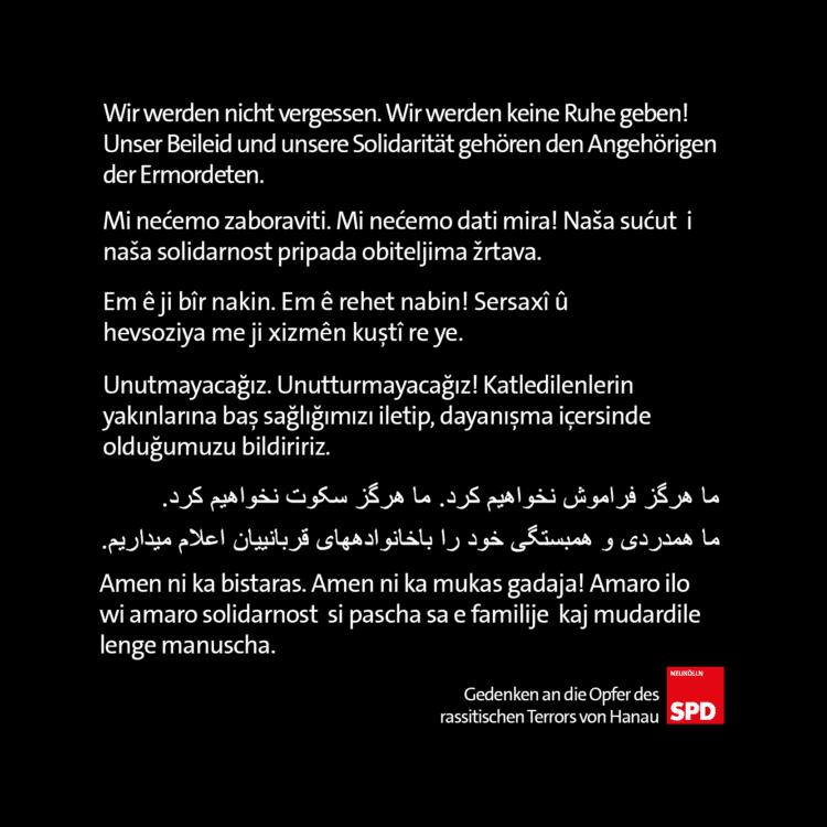 SPD Neukölln gedenkt der Opfer von Hanau 6