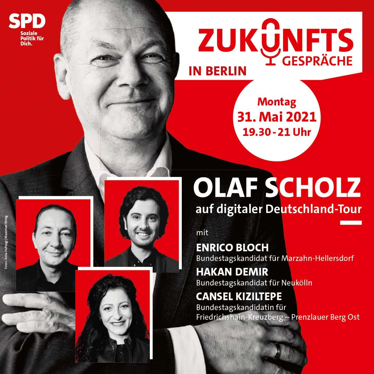 Zukunftsgespräch Olaf Scholz mit Enrico Bloch, Hakan Demir und Cansel Kiziltepe 1